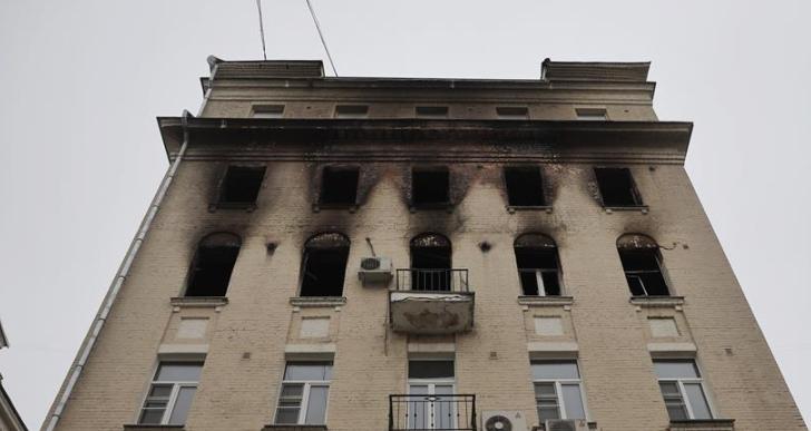 莫斯科市中心一居民楼发生火灾