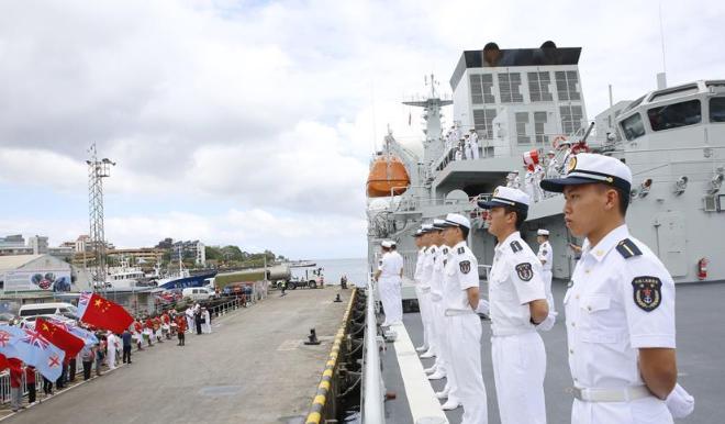 戚继光舰结束对斐济访问启程回国