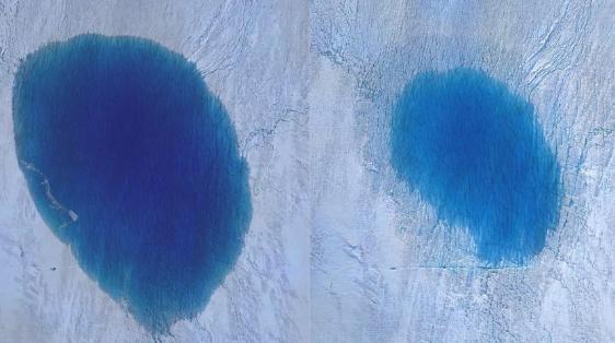 格陵兰岛融冰成湖 水量五小时内流失三分之二