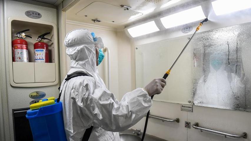 呼和浩特:列車消毒 防控疫情