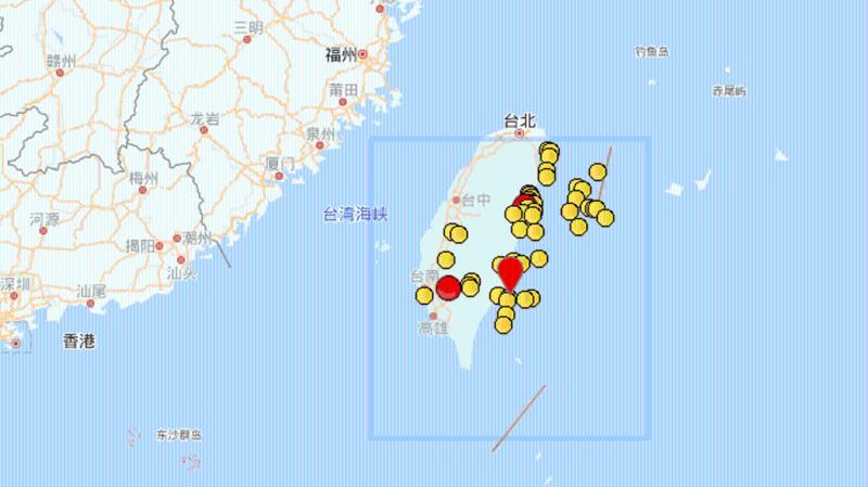 台东县海域发生4.3级地震 距台湾岛约9公里