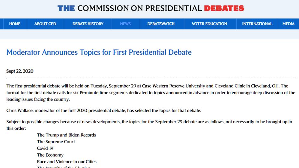 特朗普拜登首场辩论29日进行:不握手,首个提问抛硬币决定