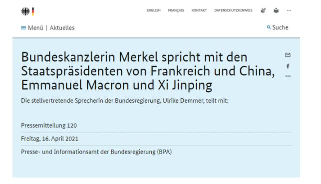 德国总理默克尔:欢迎中方碳中和目标和为气候变化作出的努力