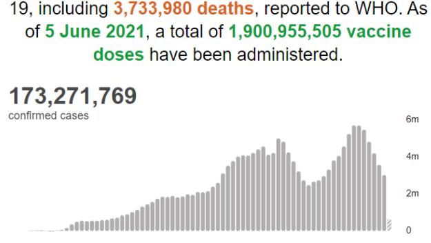 世卫组织:全球新冠肺炎确诊病例超1.7327亿例