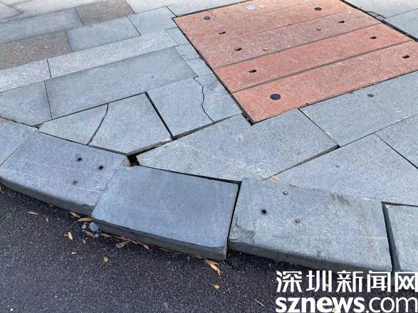 民生盐田丨网友反映路面地砖出现裂缝 相关部门及时修复