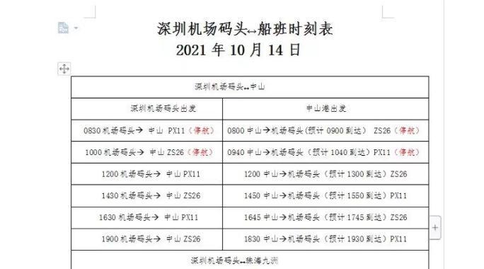 深圳机场码头往返珠海、中山船班10月14日起有序复航