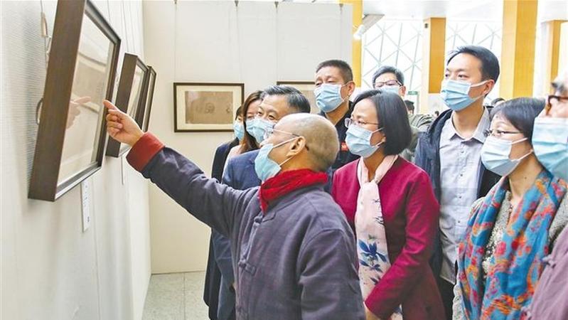 书画与古砖同展 南庐画作捐赠深圳图书馆