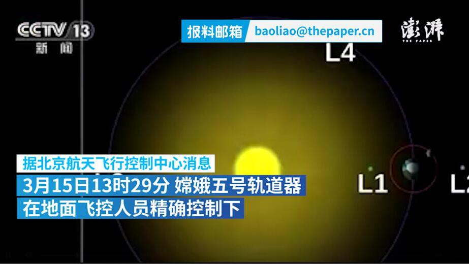 嫦娥五号轨道器成功进入日地L1点轨道