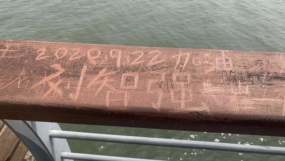 """这种行为不该有!深圳湾观桥公园成了游客""""涂鸦长廊"""""""