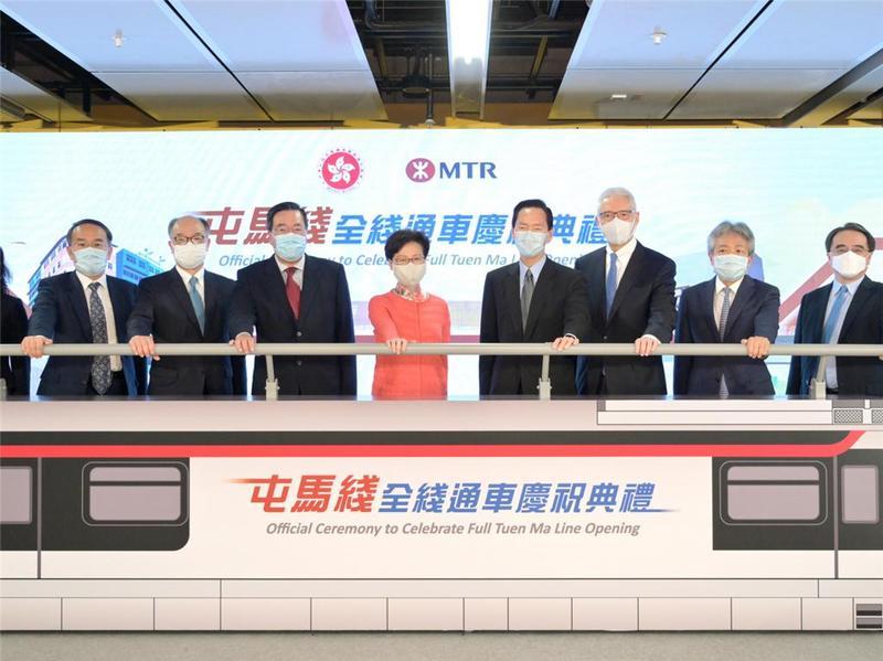 香港最长的铁路屯马线全线通车