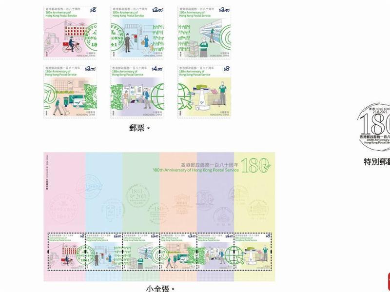 香港发行邮政服务180周年纪念邮票