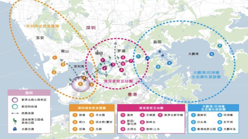 """港深紧密互动中形成的""""双城三圈""""的空间格局:覆盖深圳都市核心区"""